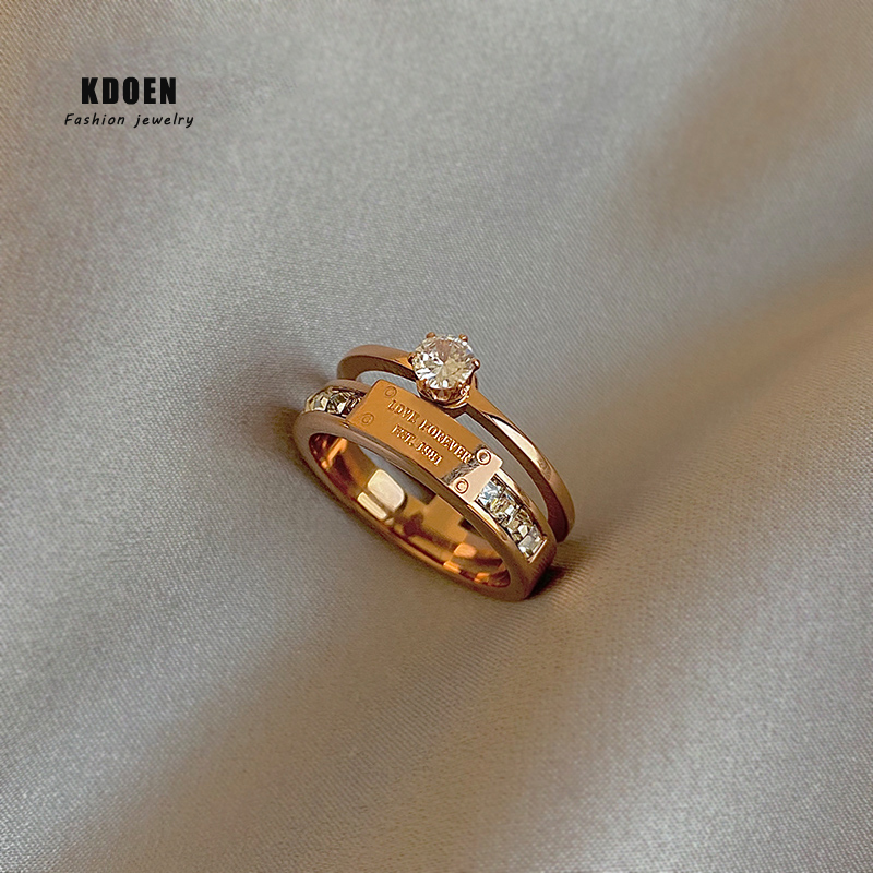 2021 New Classic Titanium Steel Rose Gold Double Letter Rings For Woman Fashion Finger Jewelry Party Girl's Temperament Ring
