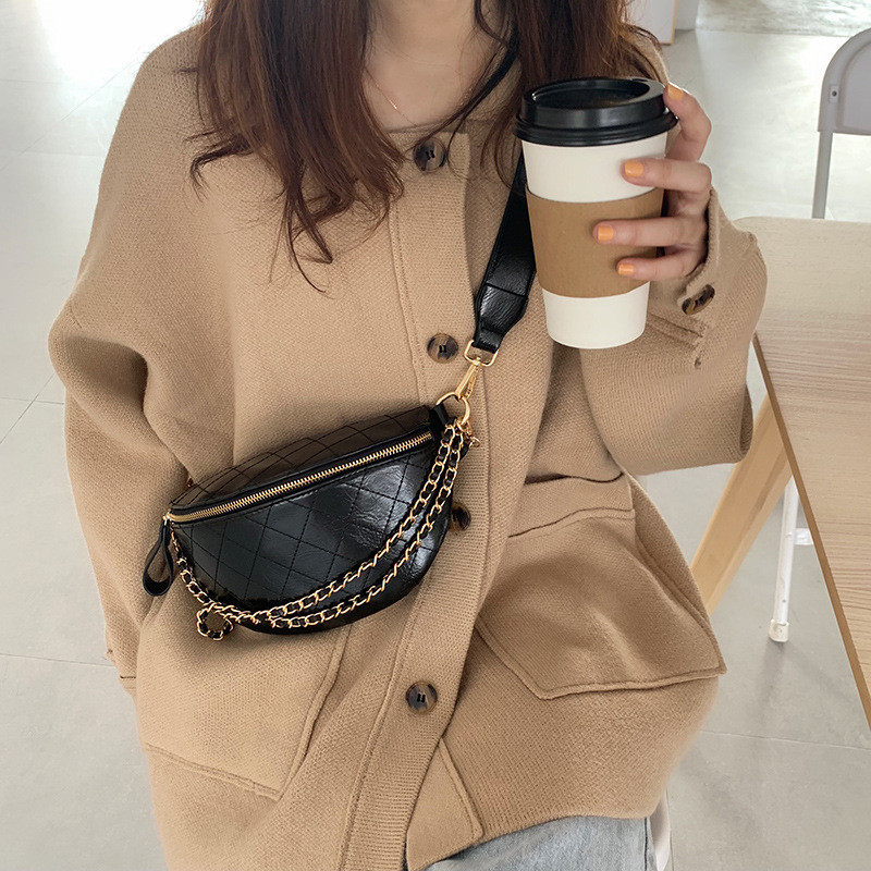 Women Chest Bag Diamond Pattern Chain Sling Bags Quality PU Leather Chain Small Shoulder Messenger Bag Lady Purses Black Wallet