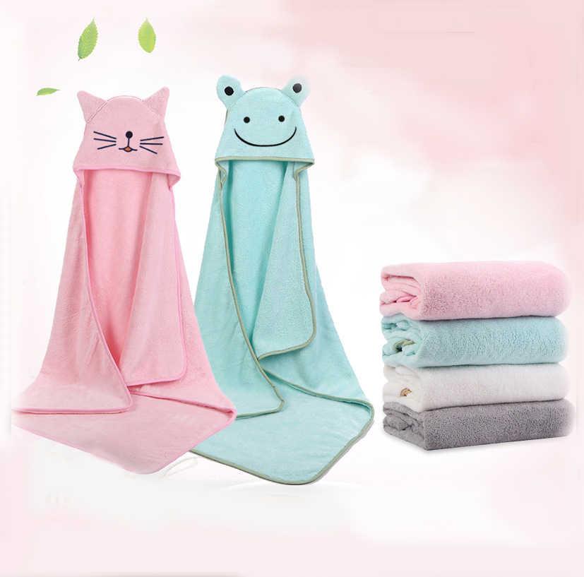 Details about  /Baby Poncho Bath Towel Toalla 90*90cm Fleece Hood Infant Towels Blanket Newborn