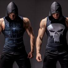 Débardeur à capuche sans manches pour hommes, super-héros, impression 3D, musculation, fitness, haute élasticité