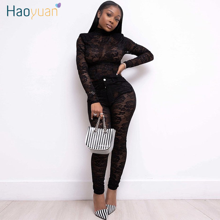 HAOYUAN Sexy Lace Mesh Sheer Two Piece Set 2020 Spring Clothes Top And Pant Suits Club Birthday Outfits For Women Matching Sets