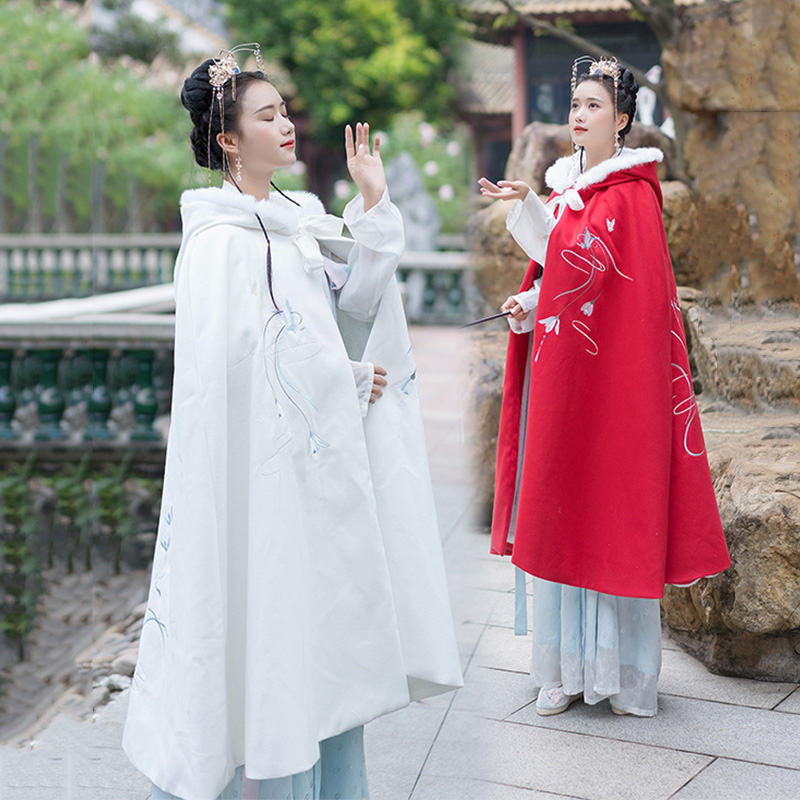 Embroidery Hanfu Cloak Women Folk Performance Clothing Autumn And Winter Overcoat Ladies Hooded Festival Rave Outfit DC3443