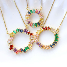 2020 New Trendy Necklaces Gold Chain  Copper Micro Rainbow CZ Pendant Necklace For Women Charm Jewelry Lady Girls Luxury gift