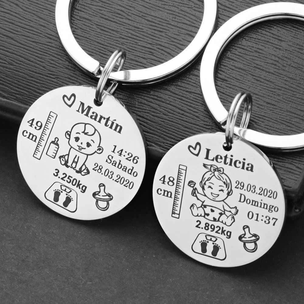 น่ารักส่วนบุคคลเด็กพวงกุญแจชื่อ Birth น้ำหนักความสูงสำหรับทารกแรกเกิดระลึกใหม่ DAD ของขวัญพวงกุญแจ P026_C