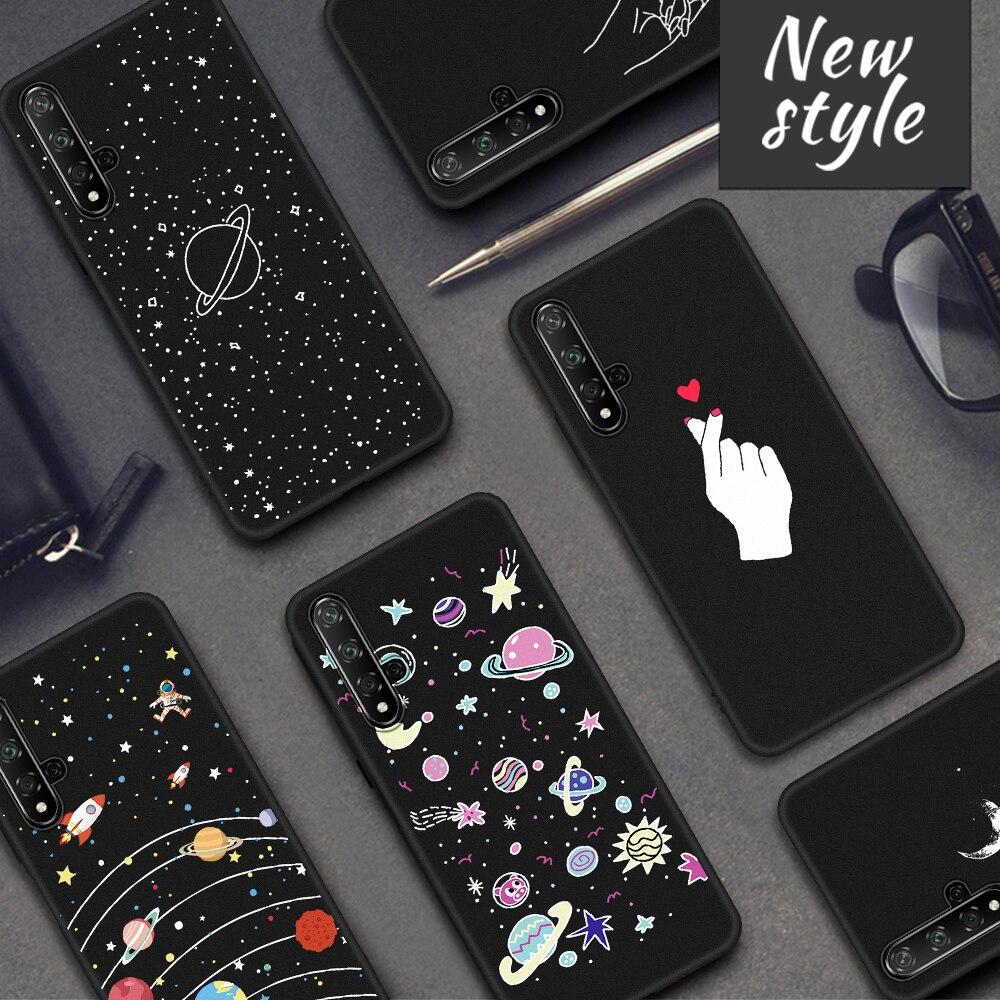 Black Soft TPU Case For Huawei Honor 20 9X 6C Pro 20 10 Lite 8X 7X 8S 8C 9 8 Lite V20 Note 10 Magic 2 20i 10i V9 Play Cover Capa(China)