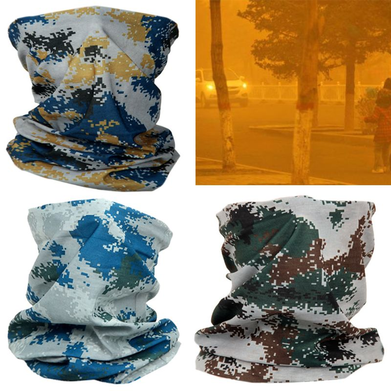 Unisex Military Sunscreen Neck Gaiter Seamless Bandana Contrast Colored Camouflage Cycling Scarf Face Cover Headband