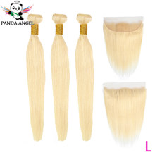 Panda Angel Remy Blonde Color Hair Straight 3 Bundles with 13x4 Ear to Ear Lace Frontal Closure Malaysia Hair Low Ratio 8-28Inch(China)