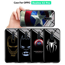 For Realme XT X2 Pro Marvel Ironman Captain SpiderMan Shockproof Tempered Glass Case Cover Silicon Soft Edge Casing For Reno Ace(China)