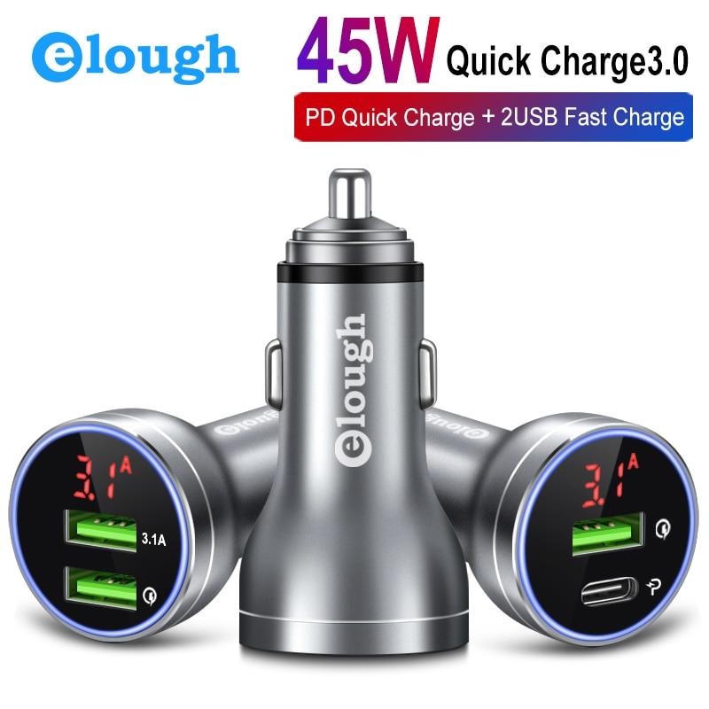 Elough Charge rapide 4.0 3.0 USB chargeur de voiture pour Xiaomi chargeur de voiture PD chargeur usb chargeur allume-cigare LEDDisplay