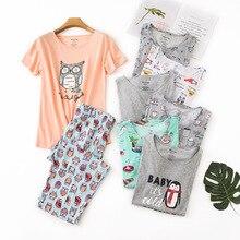 Sommer Frauen Baumwolle Kurzen Ärmeln Kalb Länge Hosen Pyjamas Rundhals Cartoon Druck Nachtwäsche Plus Größe Pijama Hause Kleidung