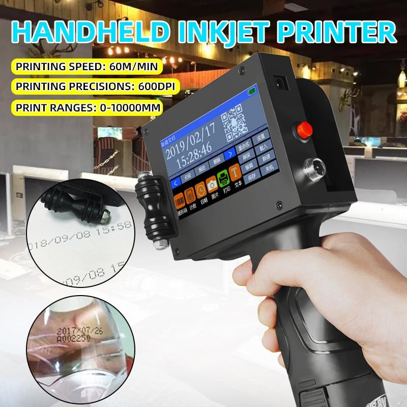 110-220V Handheld Printer Label Inkjet QR Printet USB Automatic Coding Machine Date English Smart Encoder LED Touch Screen