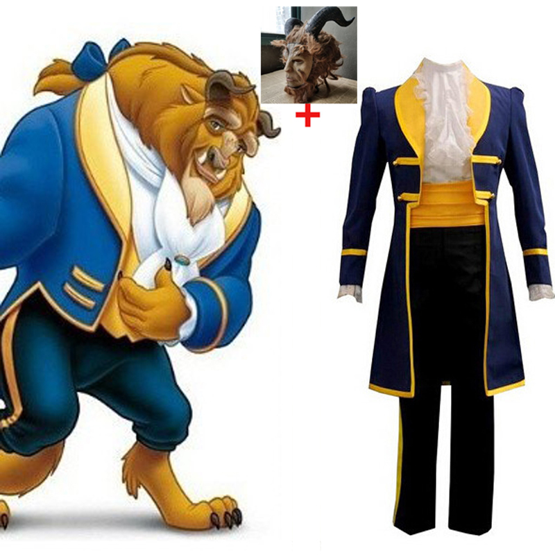 Movie Beauty And The Beast Cosplay Costume Halloween Costumes For Adult Handsome Prince Outfit Cosplay The Beast Mask Costume