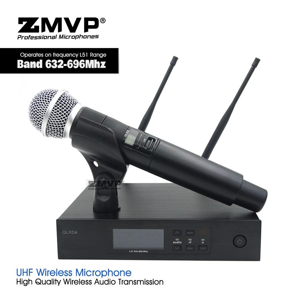 Système de Microphone sans fil professionnel ZMVP QLXD4 UHF avec transmetteur portable QLX58LC QLX pour la parole de karaoké Vocal en direct sur scène