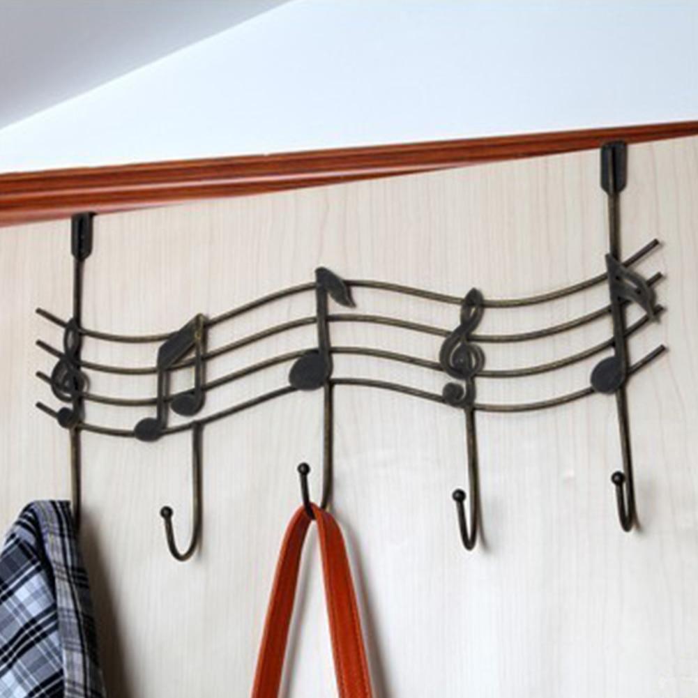 Music Note 5 Hooks Door Hanger Nailless Iron Home Bathroom Towel Rack Clothes Bags Hanging Wardrobe Cupboard Hanger Organizer