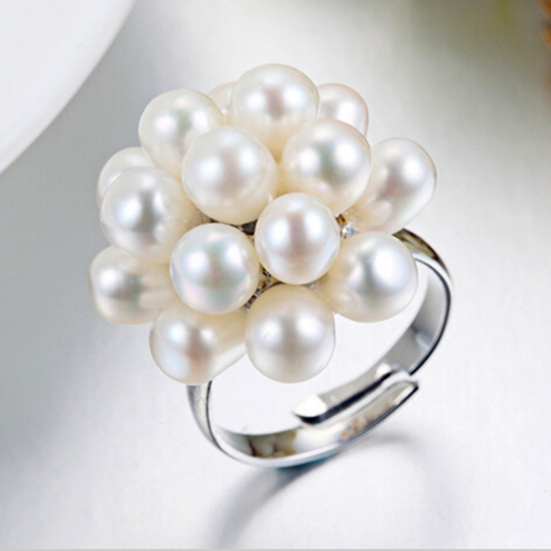 Authenticity Guaranteed Luxury Pearl Jewelry 100% Natural Pearl Flower Wedding Ring For Women Wholesale And Retail Free Shipping