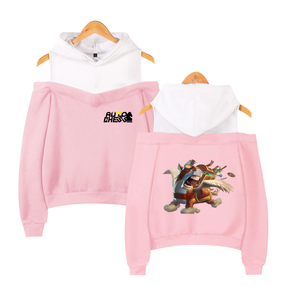 2019 New Style Hot Sales Game Pioneer Auto Chess Turret Self-Moves Sexy Women's off-Shoulder Hoodie image