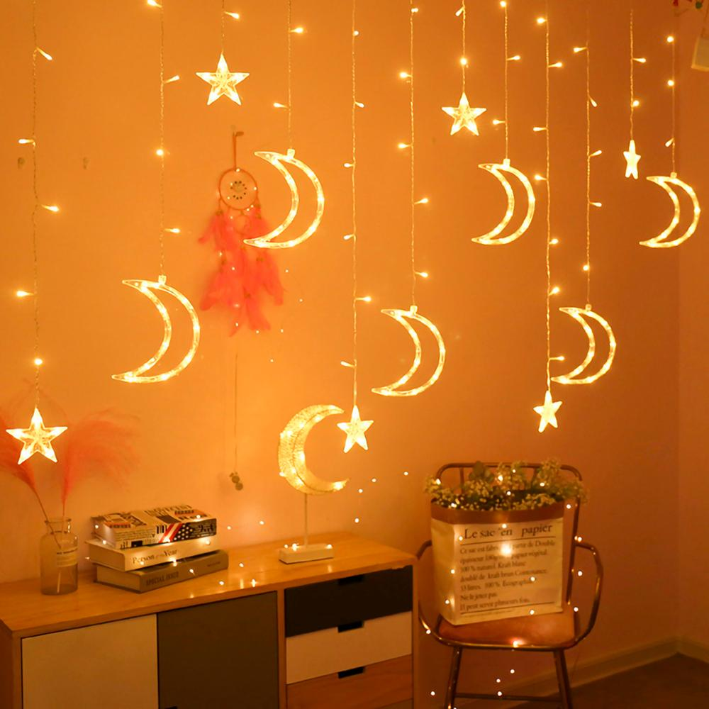 PATIMATE Moon Star LED Light String EID Mubarak Ramadan Decoration Islamic Muslim Party Decor Eid Al Adha Ramadan And Eid Decor