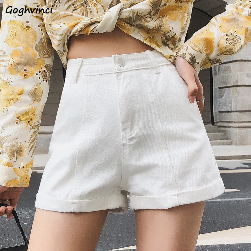 Shorts Women Summer Solid Pockets Loose Zipper Fly High Waist Denim All-match Ulzzang Streetwear Korean Style Womens Trousers