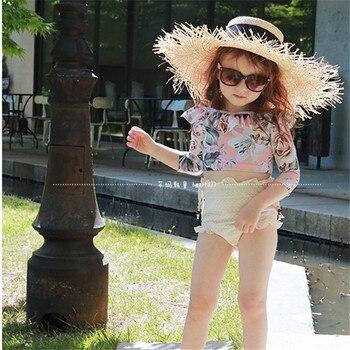 Stroje kąpielowe dla dzieci stroje kąpielowe dla dziewczyn strój kąpielowy śliczne Split z czapką Bikini strój kąpielowy 2019 wysypka straży Maillot De FJ80