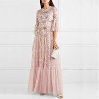 Women Luxury Long Party Dress Elegant 2019 High Quality Flare Sleeveless Floral Embroidery Mesh Women Dress Pink Birthday Dress