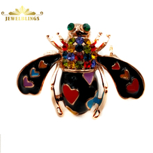 Chic Cute Colorful Heart Spotted Black Enameled Bee Brooches Gold Tone Multi Colored Crystal Head Honey Bee Pins Hornet Jewelry