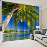 Luxury Blackout 3D Window Curtains For Living Room Bedroom blue beach curtains Decoration curtains
