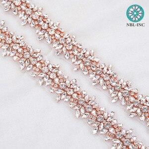 Image 4 - Apliques de diamantes de imitación para vestido de novia, cinturón de banda para vestido de boda WDD0278, oro rosa, 10 yardas, venta al por mayor