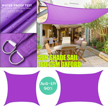 Purple 300D Sun Shade Sail Square Rectangle Home Outdoor Garden Waterproof Canopy Patio Plant Cover UV Block Awning Decoration