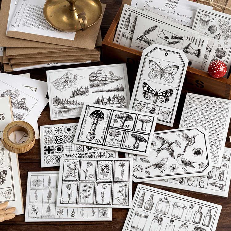 Vintage plante illustrée balle Journal Journal papier décoratif Vintage lettre autocollants Scrapbooking fournitures scolaires papeterie