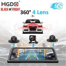 """HGDO H100 4 Lente ADAS Macchina Fotografica Dellautomobile DVR Video Recorder Specchio 4G 10 """"Media Specchietto retrovisore 4 Core android Dash Cam FHD 1080P GPS"""