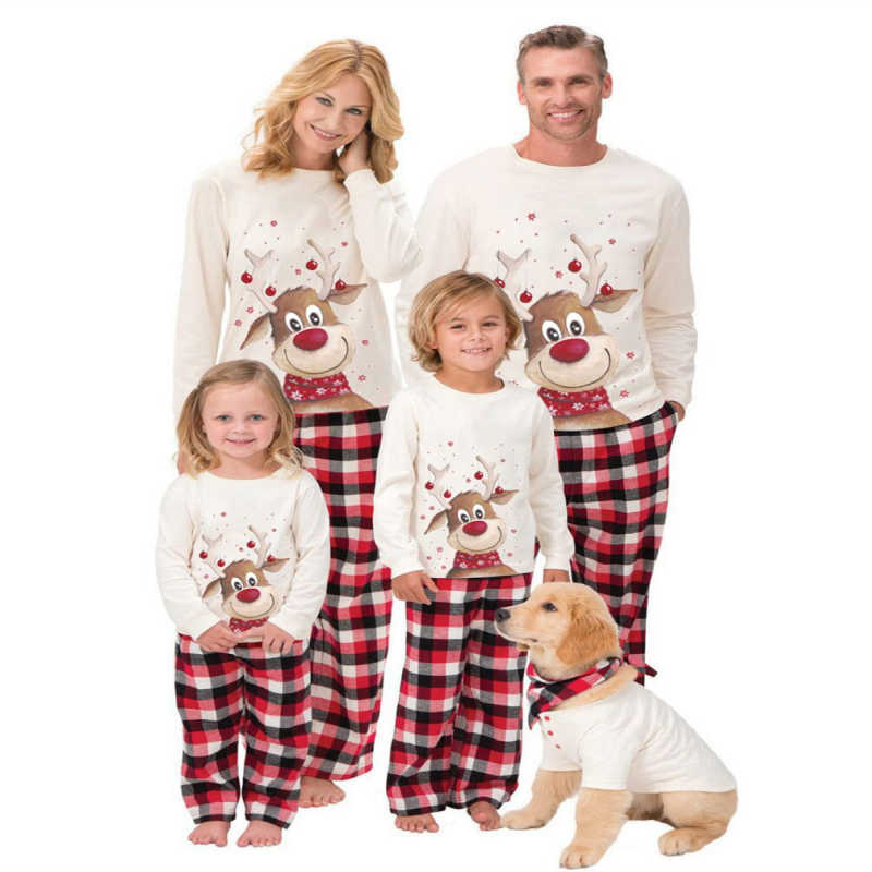 2019 Christmas Family Matching Pyjamas PJs Set Xmas Santa Adults Kids Sleepwear Nightwear 2pcs Outfits Cotton Clothes Sets