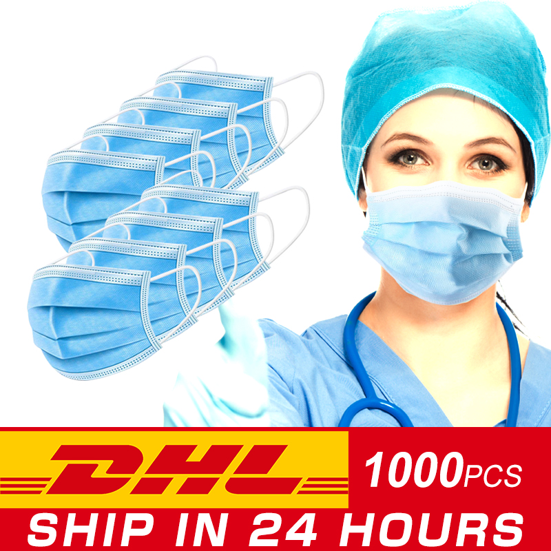 DHL Free Disposable Mask Face Mask With Filter 3 Layer Disposable Anti-Dust Masks Earloops Masks Shipping In 24 Hours