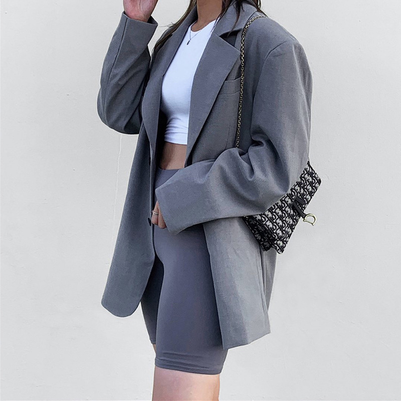 Hot 2019 autumn and winter new women's long-sleeved notched collar single-breasted fashion casual small suit coat