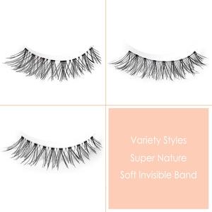 Image 2 - CLOTHOBEAUTY 5 Pairs False Eyelashes, Fake EyeLashes Extension Handmade Natural Soft Invisible Band,Long Thick Reusable Makeup