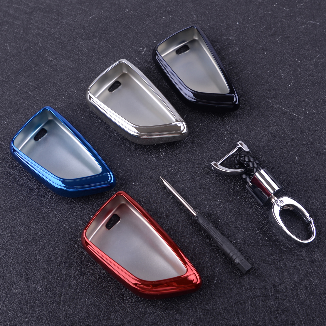DWCX 4 Colors TPU Car Key Chain Fob Cover Case Holder with Screwdriver Fit for BMW 2 3 5 6 7 Series X1 X5 X6 Accessories