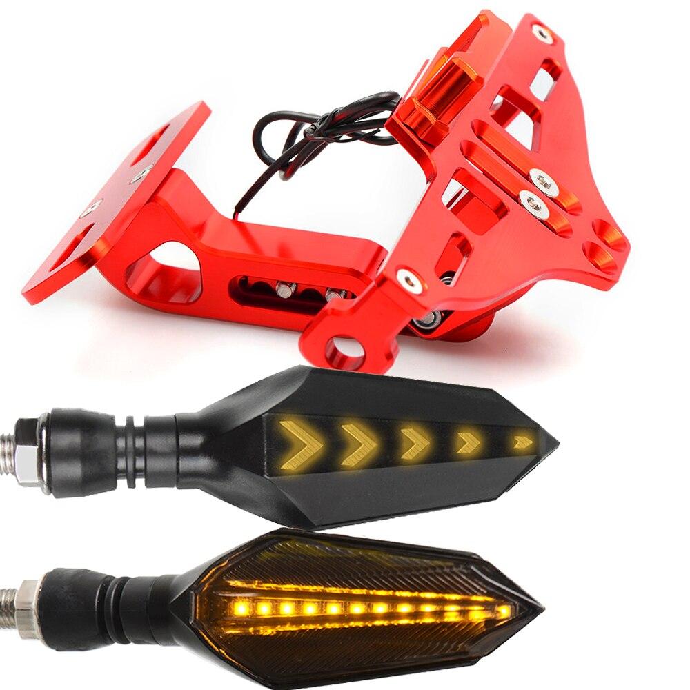 Мотоцикл номерной знак рамка держатель кронштейн с светодиодный указатель поворота мигалка для Honda CBR600 F3 F4 F4I CBR1000 RR - Цвет: Красный