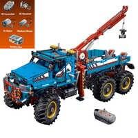20056 1912 pces série técnica o melhor todo o terreno 6x6 rc caminhão conjunto blocos de construção tijolos brinquedos modelo 42070 para criança