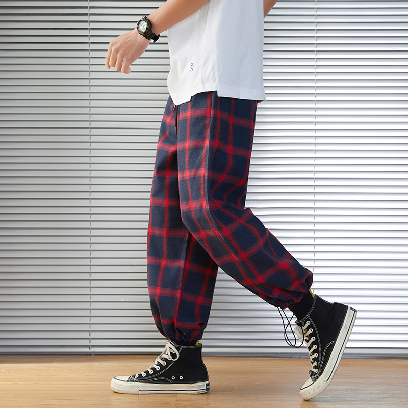 2020 New Mens Sweatpants Men's Pants Plaid Streetwear Joggers Men Cotton Blended Hip Hop Runners Trousers Drop Shipping ABZ216