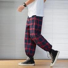 2020 nowe męskie spodnie dresowe męskie Plaid Streetwear biegaczy mężczyźni bawełna mieszane Hip Hop biegaczy spodnie Drop Shipping ABZ216