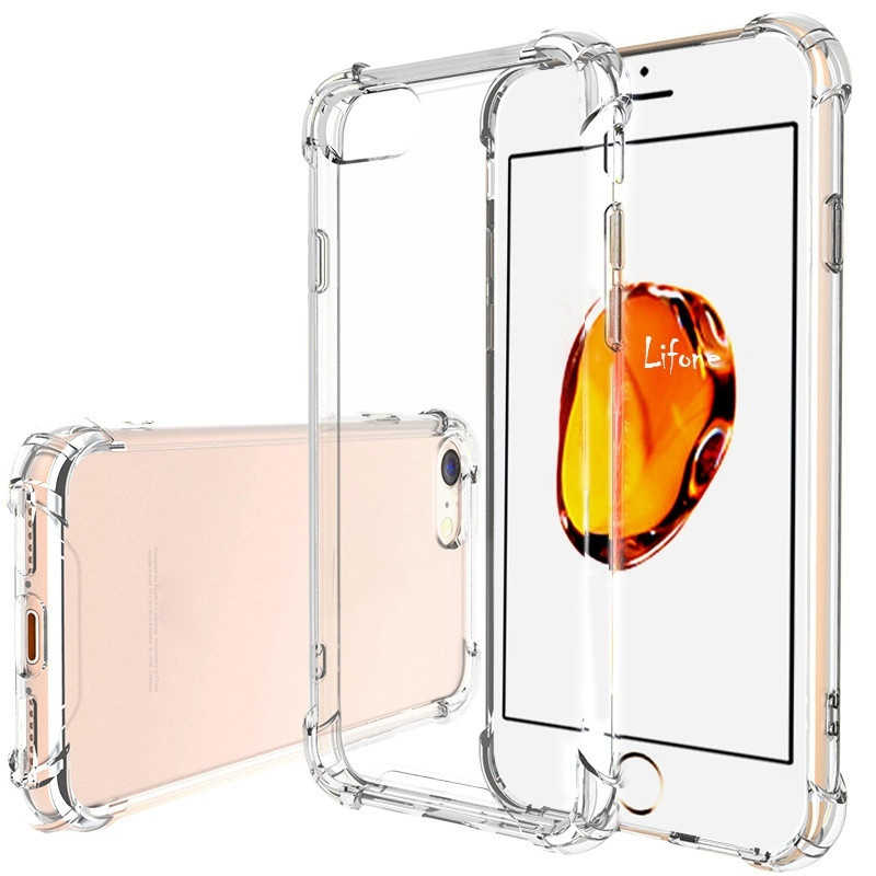 Tpu macio transparente casos para iphone 7 silicone caso iphone 8 plus caso iphone 7 plus capa completa cristal claro para apple