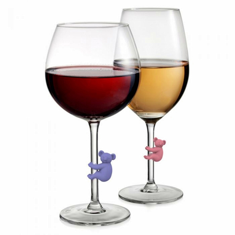 6pcs Silicone Wine Glass Marker Creative Koala Animals Drinking Cup Identifier Party Cup Sign Drink Markers