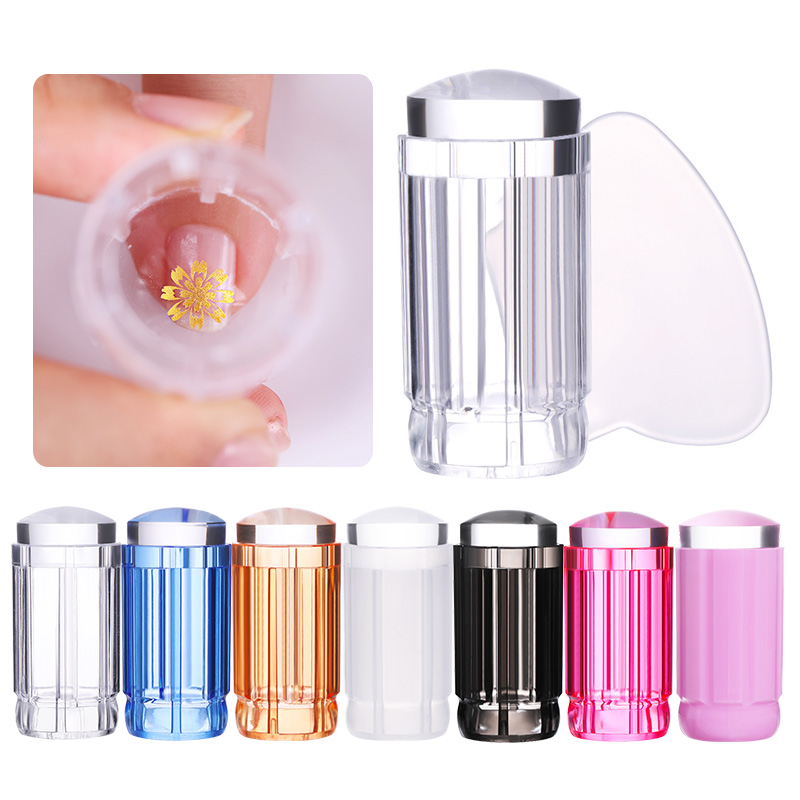 1 Pc Clear Nail Stamper Jelly Silicone Colorful Handle Stamper Head With Clear Cap Nail Scraper Design Nail Stamping Tool