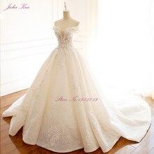Julia Kui высокого класса без бретелек Невидимый декольте Свадебные платья с жемчугом бисером Бальные платья Robe de Mariage