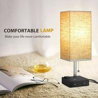 Modern Fabric LED Table Lamp Iron Linen USB Bedside Lamp Classical Bedroom Desk Lamp Reading Lamp Lampe De Chevet De Chambre
