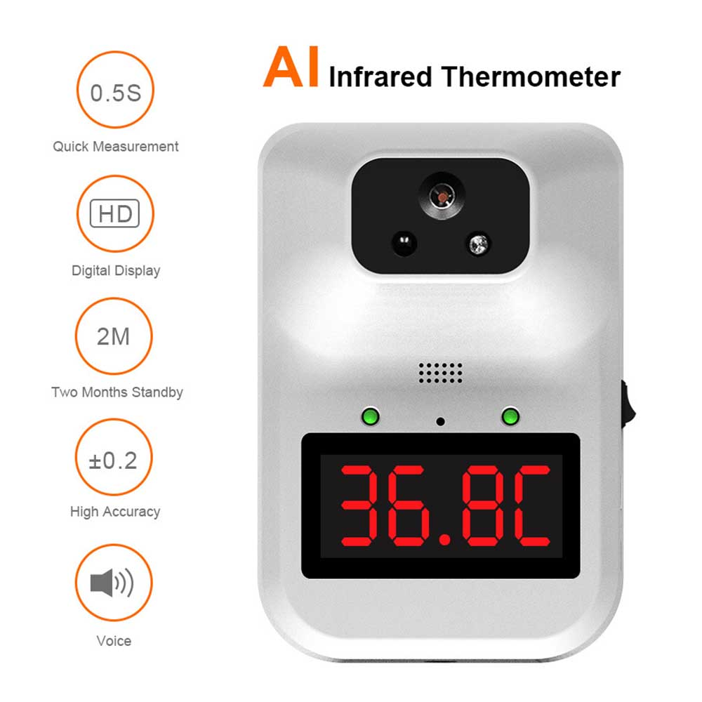 K3 Pro Non-Contact LED Digital Infrared Forehead Thermometer with Fever Alarm and 0.1S Rapid Temperature Measurement WQY Wall-Mounted Infrared Thermometer