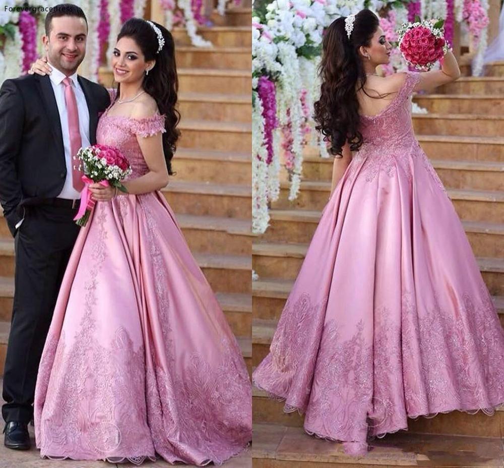 Fushcia Arabic Off The Shoulder Wedding Dress Cheap Lace Backless Formal Summer Holidays Wear Bridal Gown Custom Made