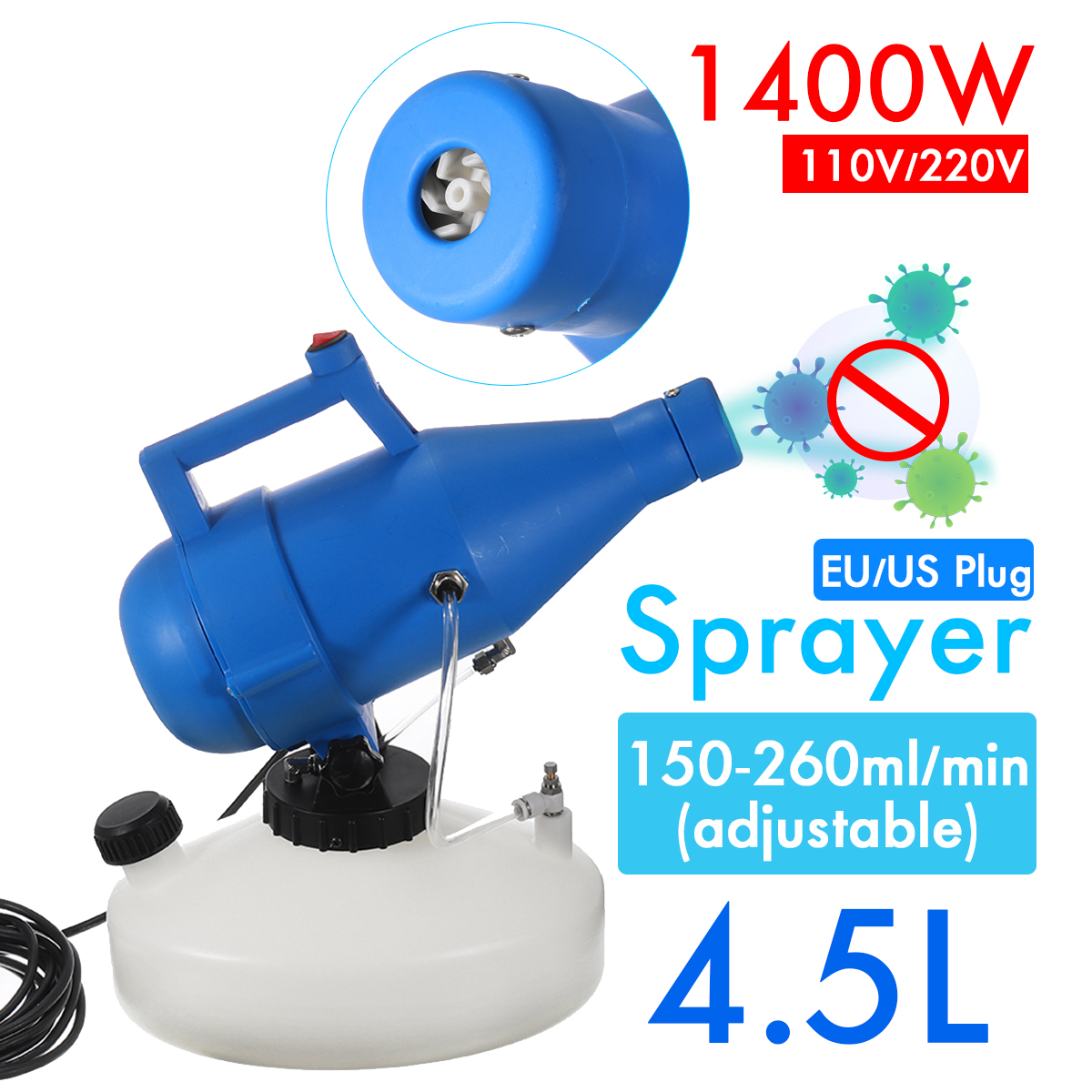 2600W 4.5L/20L Electric ULV Fogger Sprayer Mosquito Killer Disinfection Machine Fight Drugs Distance Portable Spraying Tool