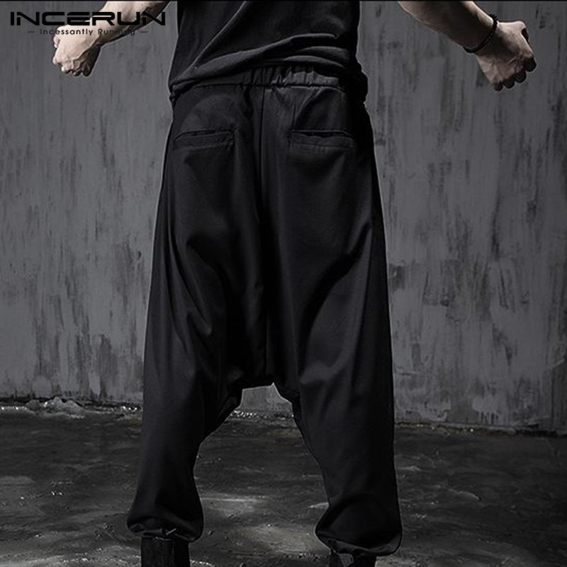 Men2020 Fashion Casual Black Wide Leg Trousers Elastic Waist Harem Pants Boy Streetwear Punk Baggy Cross-pants Plus Size INCERUN