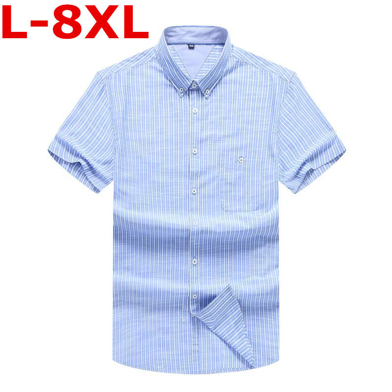 Plus Size 8XL 7XL  New Summer  Short Sleeve Striped 100%cotton Pure Color Business Dress Shirts Formal Work Shirts Men