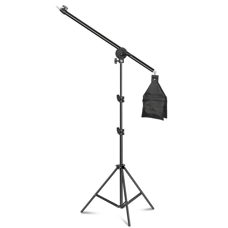 Equipamento fotográfico photo studio luz kit boom braço suporte tripé com 200cm suporte de luz tripé braço cruzado com saco de areia